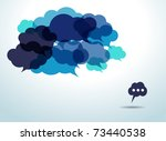 blue cloud speech bubbles | Shutterstock .eps vector #73440538