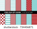 aqua red polka dot  chevron and ... | Shutterstock .eps vector #734406871