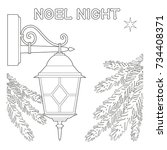 noel night black and white... | Shutterstock .eps vector #734408371