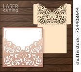 die laser cut wedding card... | Shutterstock .eps vector #734408644