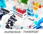 chemistry development  medicine ... | Shutterstock . vector #734409187