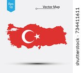 simple map of turkey with flag... | Shutterstock .eps vector #734411611