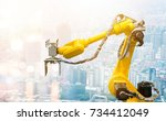 heavy automation robot arm... | Shutterstock . vector #734412049
