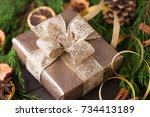christmas gift on the antique... | Shutterstock . vector #734413189