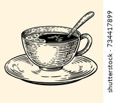 a cup of coffee on a saucer...   Shutterstock . vector #734417899