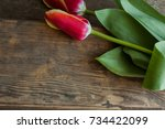 Two Red Tulips On A Wooden...