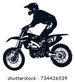 motocross rider | Shutterstock .eps vector #734426539