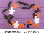 halloween silhouettes cut out... | Shutterstock . vector #734441071