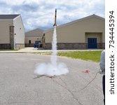 Model Rocket Launching Off