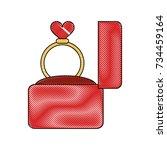 wedding ring in box | Shutterstock .eps vector #734459164