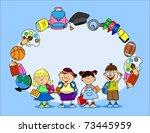 cute schoolboys and schoolgirls ...   Shutterstock .eps vector #73445959