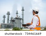 engineer is checking gas...   Shutterstock . vector #734461669