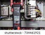 digital clamp meter electric...   Shutterstock . vector #734461921