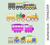 kids train toy vector set gift... | Shutterstock .eps vector #734462359