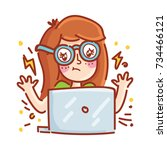 confused  messed up freelance... | Shutterstock .eps vector #734466121
