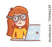 freelance hipster shrug  not... | Shutterstock .eps vector #734466139
