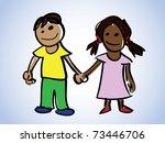 cartoon boy and girl - illustration - stock vector