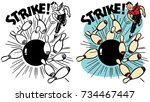 a man bowls a perfect strike | Shutterstock .eps vector #734467447