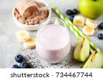healthy fresh smoothie drink... | Shutterstock . vector #734467744