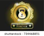 golden emblem or badge with... | Shutterstock .eps vector #734468851