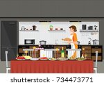 mom woman cooking in kitchen... | Shutterstock .eps vector #734473771