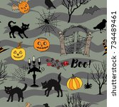 halloween seamless pattern with ... | Shutterstock .eps vector #734489461