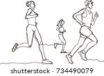 three runners   continuous line ... | Shutterstock .eps vector #734490079
