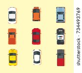 cars transport top view icons... | Shutterstock .eps vector #734493769