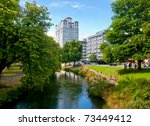 View of Oxford Terrace, Christchurch Central, New Zealand - stock photo
