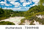 Frying Pan Flat pool at Wai-O-Tapu  geothermal area in  New Zealand - stock photo