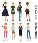 fashion model girl clothes... | Shutterstock .eps vector #734496541