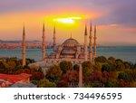 the blue mosque   sultanahmet   ... | Shutterstock . vector #734496595