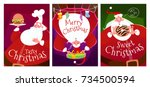 three christmas cards with...   Shutterstock .eps vector #734500594