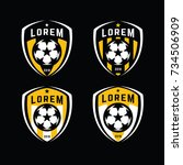 football logo badges set. good... | Shutterstock .eps vector #734506909