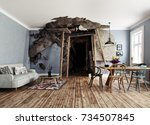 the entrance to the mine... | Shutterstock . vector #734507845