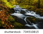 amazing colorful autumn scene... | Shutterstock . vector #734510815