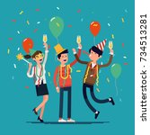 people celebrating. cool vector ... | Shutterstock .eps vector #734513281
