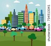 city scape vector.flat city  | Shutterstock .eps vector #734513341