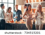 group of friends party together ... | Shutterstock . vector #734515201