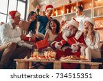group of friends party together ... | Shutterstock . vector #734515351