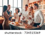 group of friends party together ... | Shutterstock . vector #734515369
