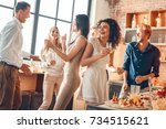 group of friends party together ... | Shutterstock . vector #734515621