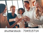 group of friends party together ... | Shutterstock . vector #734515714