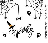 cute spiders and web on orange... | Shutterstock . vector #734516629