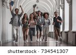 beautiful young students are... | Shutterstock . vector #734541307