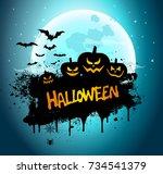 halloween night background... | Shutterstock . vector #734541379
