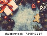 christmas vintage background ... | Shutterstock . vector #734543119