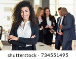 businesswoman leader looking at ... | Shutterstock . vector #734551495