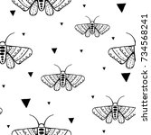seamless pattern with doodle... | Shutterstock .eps vector #734568241