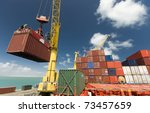 container operation in port - stock photo